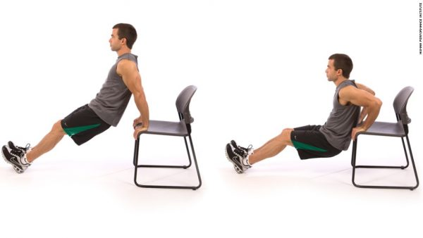Lose upper arms easily by Tricep Bench Dips.